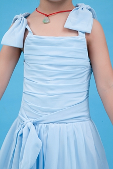 Cute Straps A-line Ankle Length Blue Little Girls Party Dress