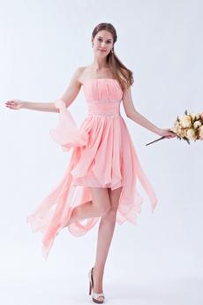Strapless High Low Hem Pink Bridesmaid Dress