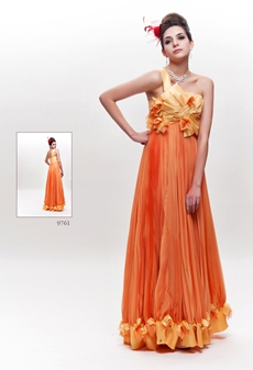 One Shouler Empire Orange Chiffon Junior Prom Dress