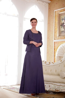 Ankle Length Column Purple Long Sleeves Jacket Mother Of The Bride Dress