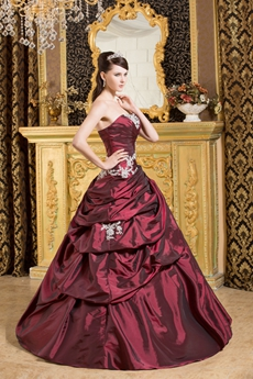 Strapless Ball Gown Burgundy Taffeta Sweet 15 Dress Corset Back