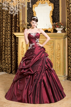 Strapless Ball Gown Burgundy Taffeta Sweet 15 Dress Corset Back