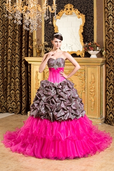 Breathtaking Colorful Fuchsia Leopard Quinceanera Dress 2016