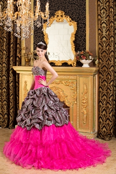 Breathtaking Colorful Fuchsia Leopard Quinceanera Dress 2016