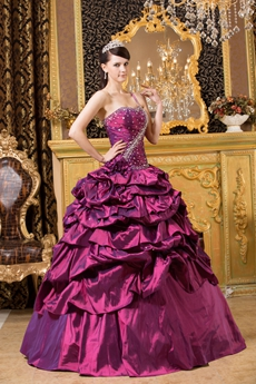 Mystic One Straps Ball Gown Grape Taffeta Quince Dress With Rosette