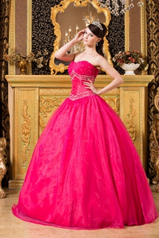 Adorable Shallow Sweetheart Fuchsia Organza Ball Gown Quinceanera Dress