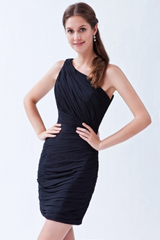 Modern Sheath Mini Length Single Shoulder Little Black Bandage Dress