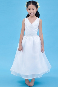V-Neckline Tea Length White Organza Flower Girl Dress