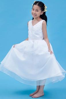 V-Neckline Tea Length White Organza Flower Girl Dress