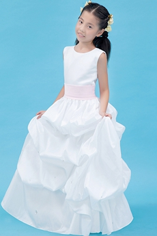Jewel Neckline Full Length White Taffeta Mini Bridal Dress