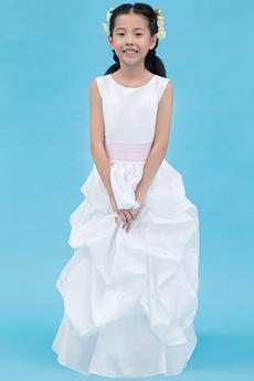 Jewel Neckline Full Length White Taffeta Mini Bridal Dress