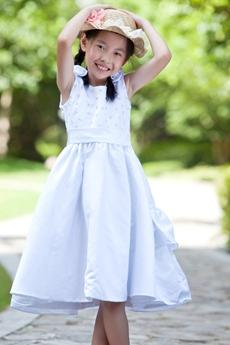 Scoop Neckline Knee Length Satin Little Girls Party Dress