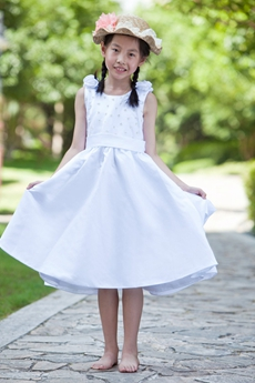 Scoop Neckline Knee Length Satin Little Girls Party Dress