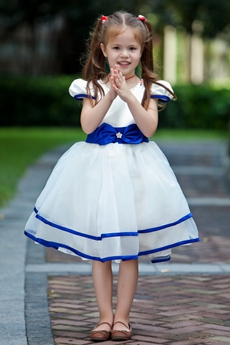 Royal Blue & White Short Sleeves Knee Length Tutu Flower Girl Dress