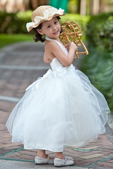 Halter Backless Tea Length Tutu Flower Girl Dress With Sequins