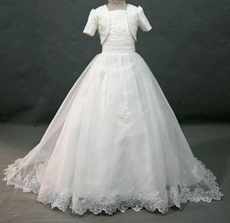 Pretty White Mini Bridal Gown With Bolero
