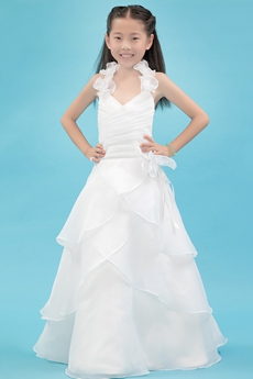 Classy Halter A-line Organza Mini Bridal Dress With Ruffles