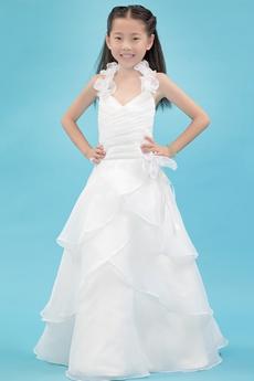 Classy Halter A-line Organza Mini Bridal Dress With Ruffles