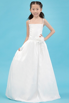 Simple Spaghetti Straps Full Length Satin Flower Girl Dress