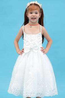 Cute Spaghetti Straps Tea Length Infant Flower Girl Dress With Bow
