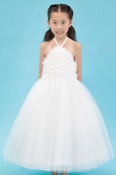 Puffy Ankle Length White Tulle Halter Flower Girl Dress