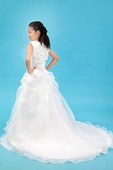 Sleeveless A-line White Organza Little Girls Pageant Dress