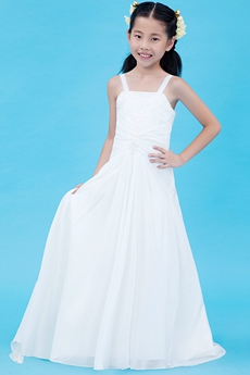 A-line Spaghett Straps White Chiffon Summer Flower Girl Dress