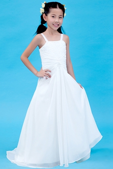 A-line Spaghett Straps White Chiffon Summer Flower Girl Dress