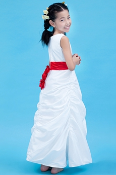 Ankle Length White Taffeta Mini Bridal Dress With Red Sash