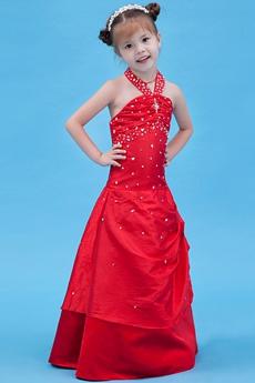 Halter A-line Full Length Red Little Girls Pageant Dress