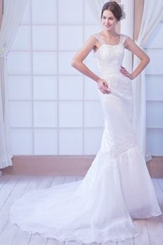 Exclusive Straps Full Length Mermaid/Trumpet Organza Wedding Dress With Lace Appliques