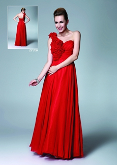 One Shoulder Column Full Length Red Chiffon Bridesmaid Dress