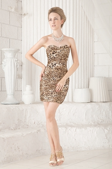 Hot Sheath Mini Length Leopard Cocktail Dress