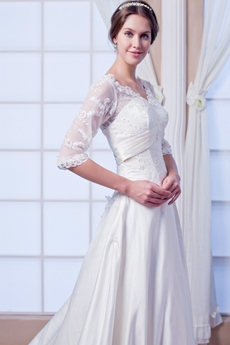 V-Neckline 3/4 Sleeves Plus Size Wedding Dress With Lace