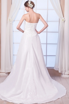 Modest Strapless A-line Taffeta Wedding Dress Lace Up Back