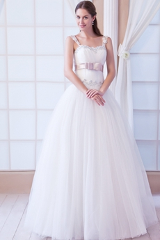 Straps White Tulle Puffy Full Length Princess Wedding Dress