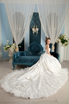Gorgeous Cathedral Train Floor Length Princess Wedding Dress With Bowknot