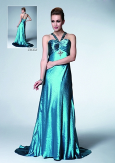 Sexy Halter A-line Teal Evening Dress
