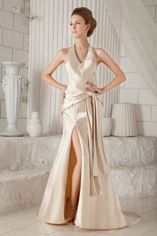 Backless Top Halter A-line Champagne Satin Evening Dress