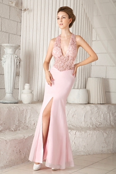 Sexy Halter Sheath Floor Length Pink Chiffon Informal Evening Gown