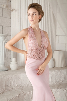 Sexy Halter Sheath Floor Length Pink Chiffon Informal Evening Gown