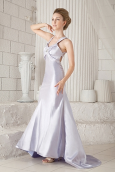 Crossed Straps Back A-line Silver Satin Prom Dress With Exquisite Handwork