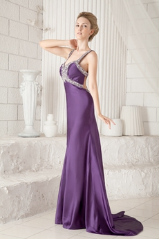 Crossed Straps Back Sheath Floor Length Purple Evening Dress