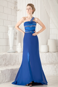 One Shoulder A-line Royal Blue Chiffon Evening Dress Front Slit