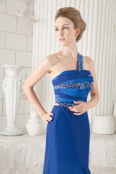 One Shoulder A-line Royal Blue Chiffon Evening Dress Front Slit
