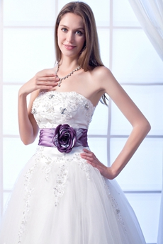 Delish Strapless Ball Gown White Tulle Quinceanera Dress With Purple Sash