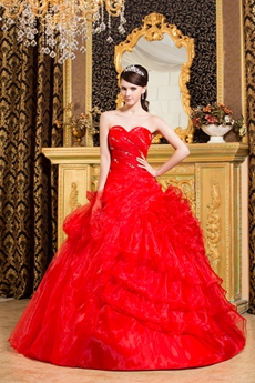 Cute Red Organza Ball Gown Sweet 15 Dress With Folded Handwork