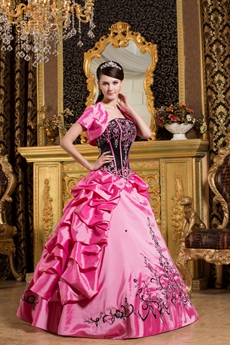 Colorful Black And Hot Pink Sweet 15 Dress With Embroidery
