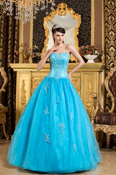 Cheap Sweetheart Blue Organza Ball Gown Sweet 15 Dress