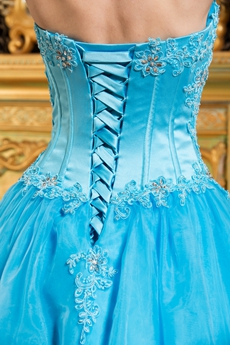 Cheap Sweetheart Blue Organza Ball Gown Sweet 15 Dress